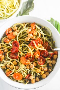 Squash Noodles with Kale Arugula Pesto with Roasted Chickpeas is bursting with flavor! {V, GF, DF} http://www.laurenkellynutrition.com