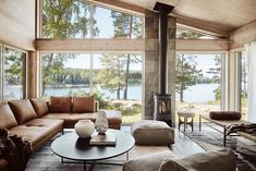 my scandinavian home: A Scandinavian Lakeside Cabin in Warm Ochre and Neutral Hues in Alingsås, Sweden Living Tv, Home And Living, Living Spaces, Living Room, Modern Living, Living Area, Scandinavian Cabin, Sala Grande, Lakeside Cabin
