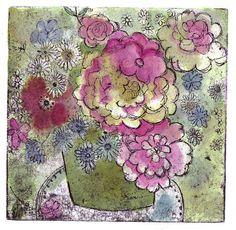 green bouquet, etching