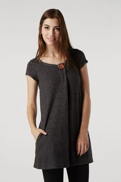 Knit Top With Button Neck & Pockets at Izabel