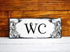 Shabby Chic Deko Schild Vintage Nostalgie Wandschild Landhaus WC Türschild