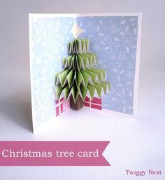 diy christmas card :DIY Christmas tree pop up card