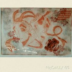 By Rejane Frainer - trabalho de impressão com tinta automotiva e colagem
