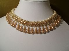 Vintage Champagne and Ivory Pearl Beadwork by BellaLucaDesigns, $87.00