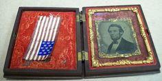 ABRAHAM LINCOLN 1860'S TIN TYPE PHOTO IN VELVET CASE PRESIDENT RARE TINTYPE