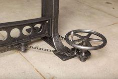 Vintage Industrial, Original Adjustable Dining Table/Desk Base 5