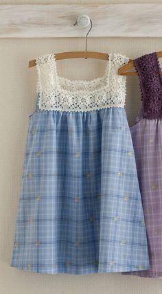 "men's shirts ""Crochet Yoke Inspiration More \""Inspiration to crochet! The crochet yoke dress - I"", ""maybe use part of crocheted runner and men\\'s shir Diy Clothing, Sewing Clothes, Crochet Clothes, Sewing Dolls, Redo Clothes, Crochet Dresses, Children Clothing, Dress Sewing, Crochet Yoke"