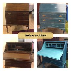 New finished bureau painted in ASCP Aubusson over Florence available now for £185