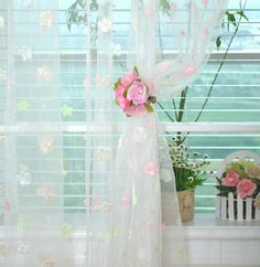 150*270cm Flowers & Heart gauze tulle quality finished curtain for bedroom living room cortinas for Girls Home Decoration