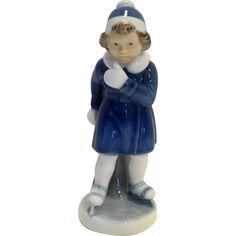 Vintage Royal Copenhagen 4523 Figurine January Girl Skater Porcelain Blue White