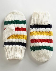 HUDSON'S BAY COMPANY COLLECTION Multi Coloured Wool Mittens Inspiration only...no pattern.  Would look cute with a matching hoodie coat.