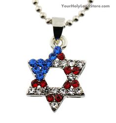 #AmericanFlag and #StarOfDavid #Necklace #Jewish #Jewelry http://www.yourholylandstore.com/american-flag-and-star-of-david-necklace/