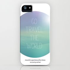 Cute modern style typography travel quotation. Mixed media typography and photography in ombre pastel green blue colors.  iPhone Case by Little Smilemakers Studio