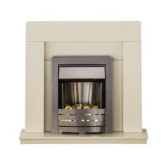 Adam Palermo Fireplace Suite in Cream with Helios Electric Fire in Brushed Steel 39 Inch | Fireplace World