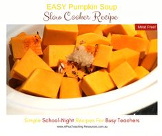 Slow Cooker Pumpkin Soup -School Night Recipes For Teachers Slow Cooker Pumpkin Soup, Creamed Potatoes, Easy Soup Recipes, Food To Make, Bacon, Tasty, Bread, Dishes, Type