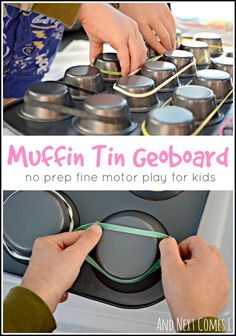 No prep fine motor play for kids using muffin tins from And Next Comes L