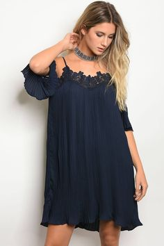 Ladies 3/4 Sleeve Skater Dress With Lace Trim Along The Neckline And Sleeves, With Cold Shoulders.