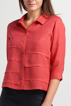 Penny Linen Sleeved Collar Shirt Jacket - Care - Skin care , beauty ideas and skin care tips Collar Shirts, Shirt Blouses, Collars, Linen Blouse, Linen Tunic, Short Tops, Light Jacket, Western Outfits, Linen Dresses