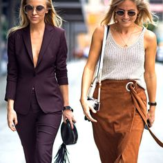 Left, a monochromatic plum suit. Right, a sweater tank tucked into a wrap skirt.