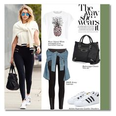 A fashion look from September 2015 by igedesubawa featuring River Island, Lydia Bright, H&M, adidas e Balenciaga Sporty Outfits, Sporty Style, Cute Outfits, Fashion Now, Fashion Looks, Madison Style, Football Fashion, Adidas Superstar, Her Style