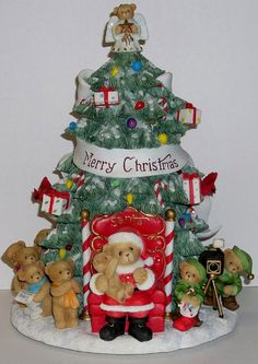 Cherished Teddies Light Up Christmas Tree Figurine NEW # 114180 Sample