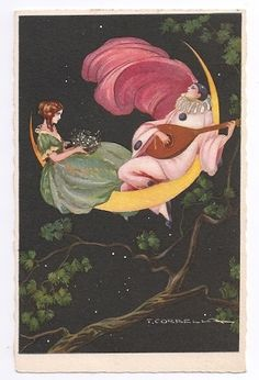 Moon Postcard - 1920's  - Singing man in the moon - Art by Tito Corbella