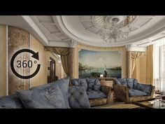 360° - 3D render | Интерьер | Гостиная - YouTube