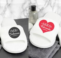 Send the bride and groom off on their honeymoon with this pair of wonderful personalised slippers.  They are also a fantastic idea for the bride to wear to save her aching feet after her wedding day. Personalised wedding slippers enable you to enjoy your special occasion in pure comfort! You can personalise this hotel/spa style pair of open toe slippers with a surname up to 12 characters in length. The same personalisation will appear on both slippers. All personalisation is case sensit...