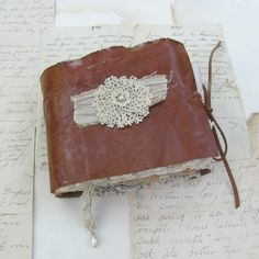 TeaDyed Leather and Lace Journal by vickisheehan on Etsy, $65.00