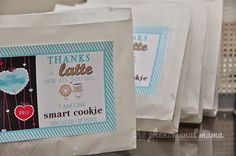 The Phenomenal Mama: DIY teachers' appreciation gifts Thanks A Latte, Smart Cookie, Personalized Gift Tags, Teacher Appreciation Gifts, Thankful, Diy, Bricolage, Do It Yourself, Homemade