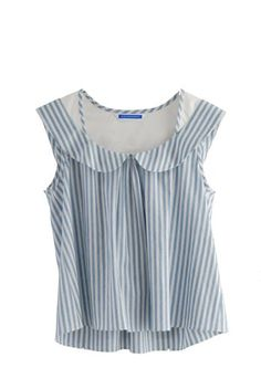 Eley Kishimoto  CHAMBRAY STRIPE PETER PAN TOP - BLUE