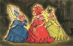 Concept art of the 3 good fairies from Disneys Sleeping Beauty