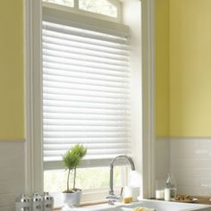 Kitchen blinds on pinterest bamboo blinds matchstick blinds and roman blinds - Pristine shades white home decor ...