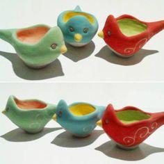 handmade ceramic egg cups bird shape hand pinched by Angela Zanin