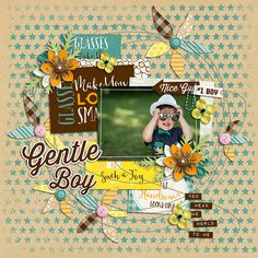 Page made by Tsubasa using Boy With Glasses | Collection, Stitched Up #05 | Templates by Akizo Designs (Digital Scrapbooking layout)