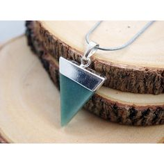 Green Jade Pendant Green Jade Triangle Pendant Stone Healing Green... ($32) ❤ liked on Polyvore featuring jewelry and pendants