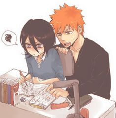 Ichigo helping Rukia out. Math. Even more dangerous than hollows.