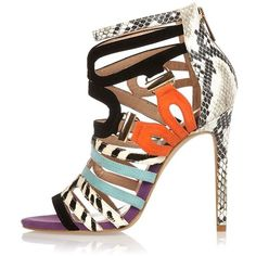 Black colour block strappy stiletto heels (€83) ❤ liked on Polyvore featuring shoes, pumps, strappy stilettos, high heel shoes, strappy pumps, black high heel pumps and snake skin pumps