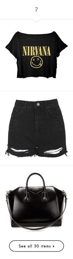"""♥"" by luanadomanski on Polyvore featuring tops, t-shirts, shirts, crop top, black crop top, shirt crop top, t shirts, black shirt, black tee and shorts"