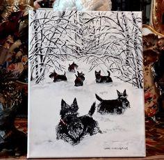 Scottish Terrier Original Painting on Canvas by Cherry O'Neill Scottie Dog Art | eBay