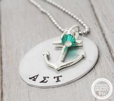 Alpha Sigma Tau Custom Sorority Necklace Alpha by PureImpressions, $25.00 #Alpha Sigma Tau, #ΑΣΤ, #Sorority Jewelry