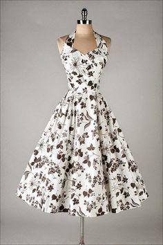 vintage black white cotton floral halter