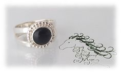 Sterling Silver Onyx Gemstone Ring by TheFeatheredMane on Etsy