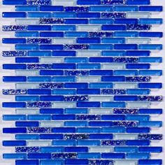 This mosaic blend is a mix of inch x 1 inch glossy and textured mini subway glass tiles in shades of cobalt blue with a few scattered white tiles. The textured glass tiles that are randomly scattered throughout the mosaic have a tactual rippled s Blue Subway Tile, Glass Subway Tile, Glass Tiles, Cobalt Blue Kitchens, White Kitchens, Rustic Blue, Rustic Wood, Cobalt Glass, Blue Bottle