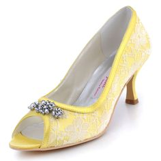 bf5315b6d15 Price tracker and history of Woman Shoes Yellow Peep Toe Rhinestone Mid  High Heel Shoes Lace Upper Pumps Ladies Shoes Wedding Bridal Shoes