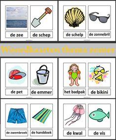 www.juf-lisanne.nl Woordkaarten thema zomer / thema strand. Met lidwoorden, zonder hoofdletters.