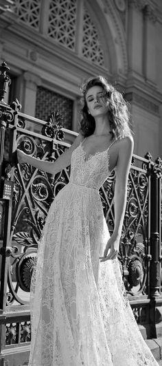 Spaghetti straps open back a line Wedding Dress bohemian wedding dress #wedding #weddingdress #weddinggown #bridedress