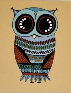 'Cute Owl in Blue and Orange' by Sarah Hennessey
