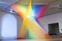 Exhibition: The Shape of Light: Gabriel Dawe,Gabriel Dawe, Plexus no. 30, 2015. Site-specific installation at the Newark Museum.  Gütermann thread, hooks and wood,  199 x 238 x 183 in. ©Gabriel Dawe.  Photo © Pierce Jackson