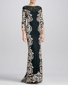 Budget Gown Metallic-Print Lace-Panel Gown  by Tadashi Shoji at Neiman Marcus.